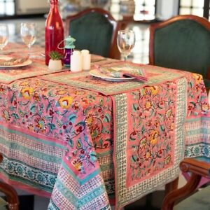 new Indian Block Print tablecloth, Floral Cotton Table Cover, Table Cloth Runner