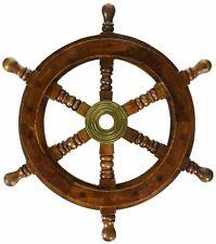 "Brass Wooden Ship Wheel Pirate Boat Nautical Decorative Antique 18"" Ship Wheel"