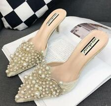 Womens Lace Beads Pointed Toe High Heels Slippers Mules Sandals Diamond Shoe C56
