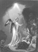 JACOB'S LADDER TO HEAVEN DREAM ANGEL GENESIS ~ 1843 BIBLE Art Print Engraving