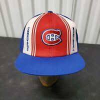 VTG 80's Montreal Canadians Snapback Mesh Trucker Hat Cap NHL Lucky Stripes