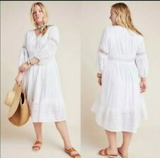 NWT Anthropologie Ebba Eyelet Embroidery Button Front Midi Dress Size 8