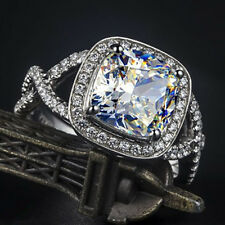 Vintage 3Ct Cushion Cut Solid 14K White Gold Lc Diamond Engagement Ring For Her
