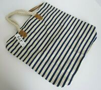 Summer & Rose Navy and White Striped Tote Bag Purse Rope Handle Beach Nautical