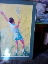 "Leroy Neiman ""The Big Serve"" Mid Century Modern Art Tennis Player Print"