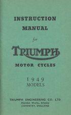 Triumph Motorcycle Manual 3T 5T T100 Rigid Sprung Hub 1949