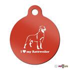 I Love My Rottweiler Engraved Keychain Round Tag w/tab rotty rott rottie