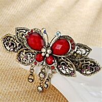 Vintage Metal Hair Claw Cute Elegant Butterfly Fancy Crystal Barrette Clip