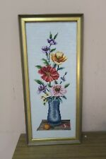 "Vintage Hand Made Stitched Finished Needlepoint 8"" x 20"" - 10"" x 23""  Framed"