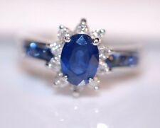 NWOT 1.75 TCW Deep Blue Sapphires with .25 TCW Diamonds Ring in 14K W Gold