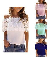 Women Lace Off Shoulder Summer T-Shirt Short Sleeve Fashion Beach Blouse Tops