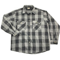 Five Brother Mens Large Gray Black Checker Plaid Long Sleeve Flannel Shirt