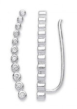 RHODIUM PLATED 925 HALLMARKED STERLING SILVER RUBOVER SET HOOK THROUGH EARRINGS