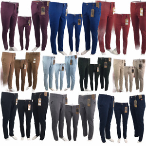 Mens Chino Trousers Regular Fit Jeans Cotton Stretch Pants All Waist Sizes 32-40