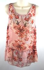 FANG Women's Size M Sheer Pink Floral Sleeveless Hi Low Ruffle Blouse Top Shirt