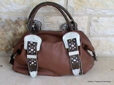 Charm and Luck Handbag Brown Leather Western Hand Tooled White Rhinestone Buckle