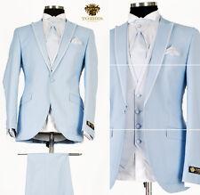 *430* 7-teiliger Hochzeitsanzug -Designer Herrenanzug Anzug in Himmel-Blau Gr.50