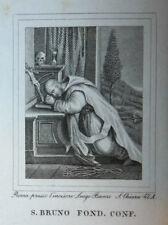 S. Brunone Bruno Fond. 6 ottobre 1840 Incisione Santino Acquaforte Stampa Banzo