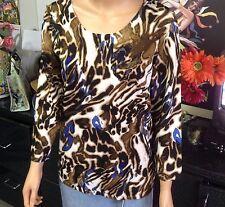 JONES NEW YORK COLLECTION Leopard Cobalt Blue Knit Top Size M Designer Fashion