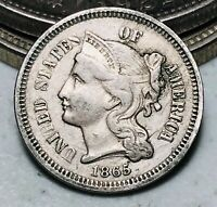 1865 Three Cent Nickel Piece 3C Higher Grade Civil War Date Good US Coin CC6583