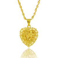 Sweet 24K Gold Plated Stereo Cross Heart Women Pendant Necklace  jP021