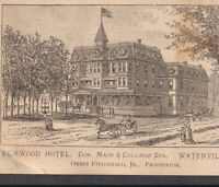 Elmwood Hotel Waterville ME 1800's Victorian Resort Orrin Fitzgerald Trade Card