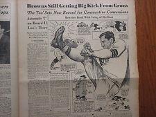 1952 The Quarterback/Sporting News Insert(w/LOU GROZA/BIGGIE MUNN/FROG MAN POOL)
