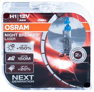 2x H1 Osram Laser Bulbs headlight Night Breaker 150 Halogen 64150nl bulb lamps