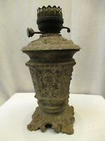 Antique Victorian Cast Iron Oil Lamp Princess Feather Vintage Kerosene Lamp Old