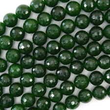 "10mm faceted Canada green jade round beads 15"" strand"