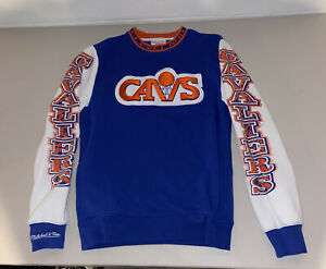 Mitchell & Ness Retro Cleveland Cavaliers Long Sleeve Pullover Crewneck - Mens S