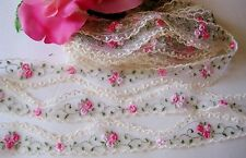 Very Delicate Lace Trim Ribbon with Embroidered Flowers  - price for 1  yard