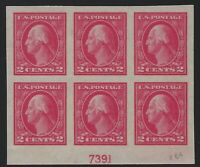 US Stamps - Scott # 409 - Plate # Block of 6 - MH                        (D-218)
