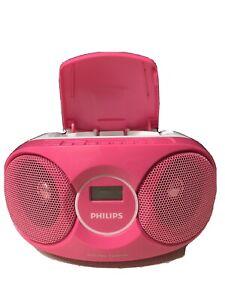 Philips Az215c/05 pink portable boombox fm radio CD player VGC