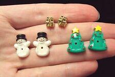 vintage changeable gift box present Snowman + Christmas tree stud earrings Avon