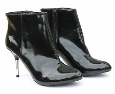Profile UK 6 Womens Black Patent Zip Up Stiletto Heel New Ankle Boots RRP £45.00