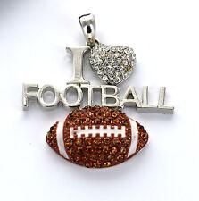 1 Lg Rhinestone I LOVE FOOTBALL Pendant, brown crystals, silver chs0468