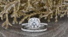 Ring Set 14k White Gold Finish 6.5mm Solitaire Moissanite Halo Engagement Bridal