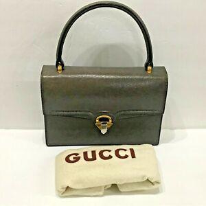 Gucci Vintage Kelly Bag Brown Leather Gold  Purse Handbag Arrow Clasp 50's