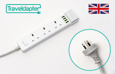 World Wide Travel Adapter URUGUAY Extension Lead Multi 3 UK Plug 4 USB to 3 P...