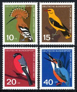 Germany B388-B391, MNH. Birds. Hoopoe, Golden oriole, Bullfinch, Kingfisher,1963