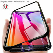 Samsung S7 S7 edge S8 S9 S10 A70 Magnetic Bumper Clear Case Tempered Glass Cover