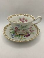 VINTAGE NOSEGAY ROYAL ALBERT BONE CHINA TEA CUP & SAUCER MIXED FLOWERS GOLD TRIM