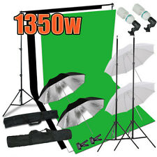 Photo Studio Black White Green Background Stand Umbrella Backdrop Lighting Kit