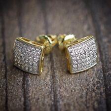 Mens & Ladies 18K Gold Simulated Lab Diamond KITE Screw Back Stud Earrings 8mm