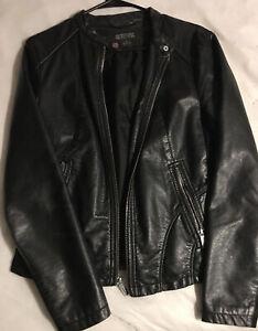 Kenneth Cole Reaction Black Genuine Leather Jacket Women's Medium