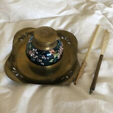 Vintage Blue Glass Hand Painted Inkwell with Brass Mother Of Pearl Oblique Pens