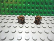 Lego 2 Brown 1x1 brick block with 2 studs and lip