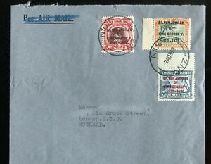 Niue KGV 1935 Silver Jubilee set SG69/71 used on cover