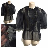 Steampunk Gothic Vamp Black Ruch Blouse Sheer Victorian Mistress Frilly Top UK12